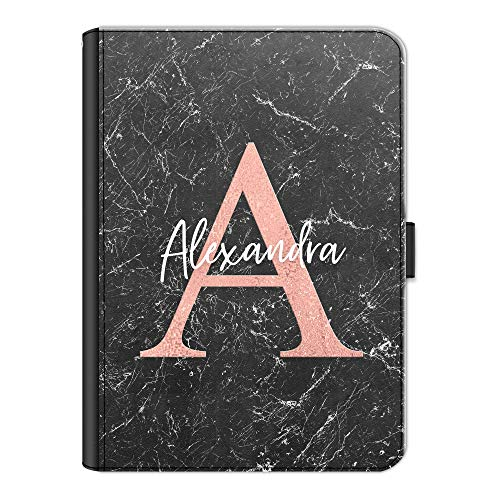 Personalised Initial Case For Apple iPad 6 (2018) 9.7 inch (6th generation), Black Marble Print with Pink Initial and White Name, 360 Swivel Leather Side Flip Wallet Folio Cover, Marble Ipad Case