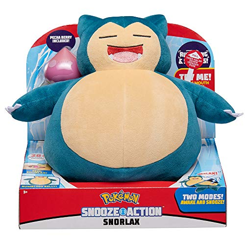 Pokemon Snooze Action Snorlax Plush, 10 Plush Toy - Features Over 20 Authentic Snorlax Sounds, with 2 Modes of Play: Asleep & Awake, Plus Vibrating Belly - Eats Pecha Berry (Included)