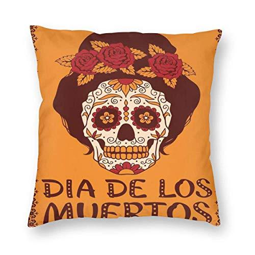 Fundas de almohada con diseño de calavera mexicana con pelo y corona de flores, funda de cojín decorativa para decoración del hogar, almohada decorativa para sofá, 50,8 x 50,8 cm