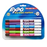 Expo Low Odor Fine Tip Dry Erase Marker, Fine Point Markers, Whiteboard Markers, Assorted, 12 Count