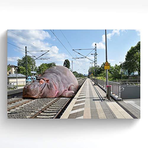 stadtecken® Poster HEPPENHEIM I Motief: Hippo I Kunstdruk I Decooposter I muurschildering I Poster I Souvenir I Geschenk I Geschenkidee - met varianten 60x40 cm