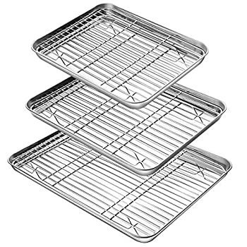 YIHONG Baking Sheet with Rack Set  3 Sheets+3 Racks  3 Size Cookie Sheets for Baking Use Stainless Steel Baking Pans with Cooling Racks Non-toxic Easy Clean Dishwasher Safe