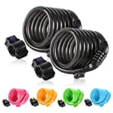 ETRONIC Security Bike Lock M6 Self Coiling Resettable Combination Lock Bike Cable Lock, 6' x 3/8'