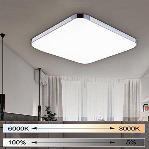 MIWOOHO 48W Dimmbar Ultraslim LED Deckenleuchte Modern Deckenlampe Schlafzimmer Küche Flur Wohnzimmer Lampe (Silber Dimmbar 3000-6500K)