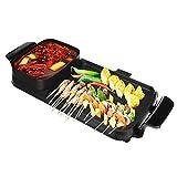 Cocina eléctrica, 2 en 1 Multiuso Barbacoa Hot Pot Set Antiadherente Mixed Grill freír Pan Sartén Grill 1800W