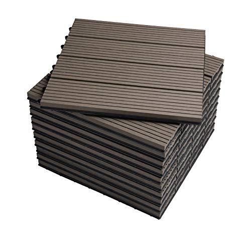 WOLTU Suelo de WPC Set de 11 Baldosas de Madera Exterior para Porche Patios Jardin, 30 x 30 cm Compuesta Azulejos para Terraza Café
