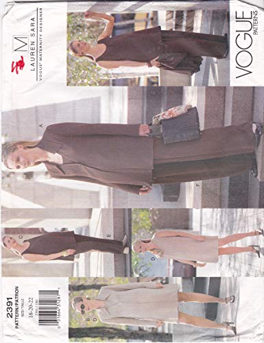 Maternity Wardrobe Unlined Jacket, Sleeveless Dress and Top and Wide Leg Pants Misses' Size 18 20 22 by Lauren Sara Vogue Sewing Pattern 2391