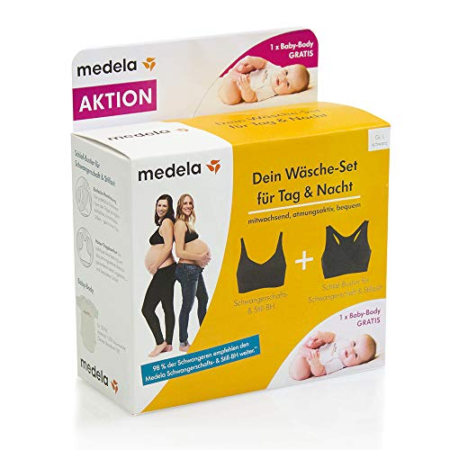 Medela Damen Wäsche-Set Für Tag & Nacht: Still Gr. L Inkl. Schlaf-Bustier Und Gratis Baby-Body Umstands-BH, Schwarz (Schwarz 1), 90D(Herstellergröße: L)