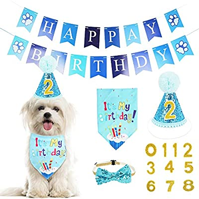 WOVTE Dog Birthday Bandana Hat Banner Set,Dog Happy Birthday Adorable Hat Banner Cute Neckerchief Ties for Boys and Girls, Party Accessories, Birthday Decorations