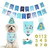 WOVTE Hund Geburtstag Bandana Hut Banner Set, Hund Alles Gute zum Geburtstag Entzückende Hut Banner Niedliche Halstuch Krawatten für Jungen und Mädchen, Partyzubehör, Geburtstag Dekorationen