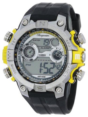 Burgmeister Armbanduhr für Herren mit Digital Anzeige, Quarz-Uhr und Silikonarmband, Wasserdichte mit zeitlosem, schickem Design - klassische, elegante Uhr für Männer - BM800-112E Digital Power