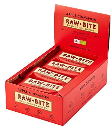 RAWBITE APPLE CINNAMON in der 12er Box- Vegan, glutenfrei & ohne Zuckerzusatz (enthält von Natur aus Zucker) - Bio Frucht-Nuss-Riegel mit Apfel & Zimt (12 x 50 g)