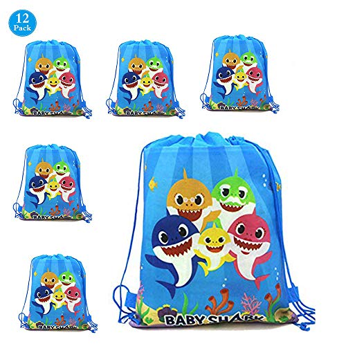 12 Pack Cute Baby Shark Gift Bags Party Favors,Shark Storage Backpack Bags Party Supplies for Girls or Boys Kids Cute Shark Themed Birthday Christmas Party(14