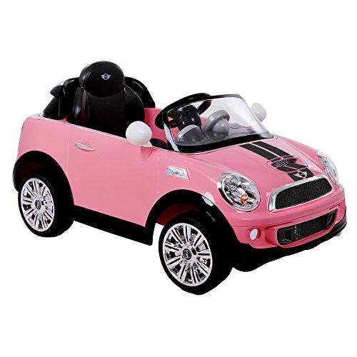 ROLLPLAY Elektrofahrzeug mit Fernsteuerung und Rückwärtsgang, Für Kinder ab 3 Jahren, Bis max. 35 kg, 6-Volt-Akku, Bis zu 4 km/h, MINI Cooper S Roadster, Pink