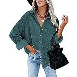Vialogry Camisa de pana de manga larga casual para mujer, abrigo de botones de color sólido con bolsillos, verde, M