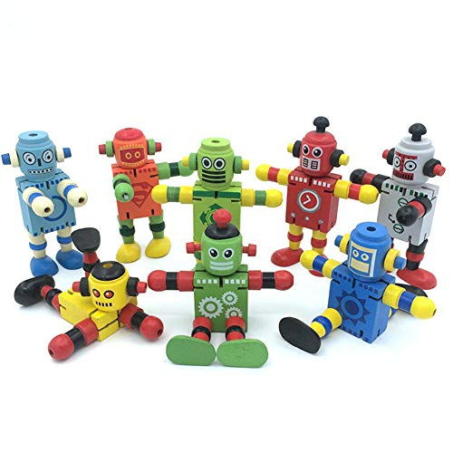 Alikeke 6 Pcs Newest Creative Personality Building Blocks Toys Early Educational Toys Wooden Deformation Elastic Robot for Children Toy Gift