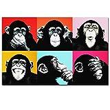 MhY Andy Warhol Colorful Monkey Animal Poster Print Canvas Pinturas para Sala de Estar Wall Art Cuadros Pictures Sin Marco, Mono, 60x95CM SIN Marco