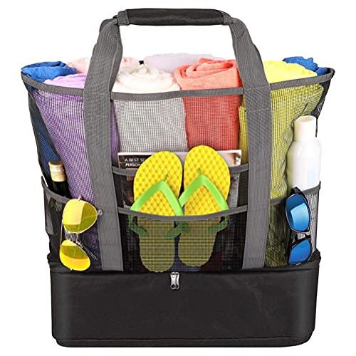Lipeed Bolsa de playa de malla, bolsa de playa pesada de viaje de verano con cremallera y compartimento impermeable para frigorífico, bolsa de playa para vacaciones.