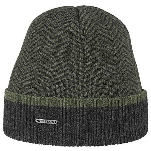 Stetson Herringbone Wool Beanie Wollmütze Wintermütze Herrenmütze Umschlagmütze Herren - mit Umschlag, Futter Herbst-Winter - One Size Oliv
