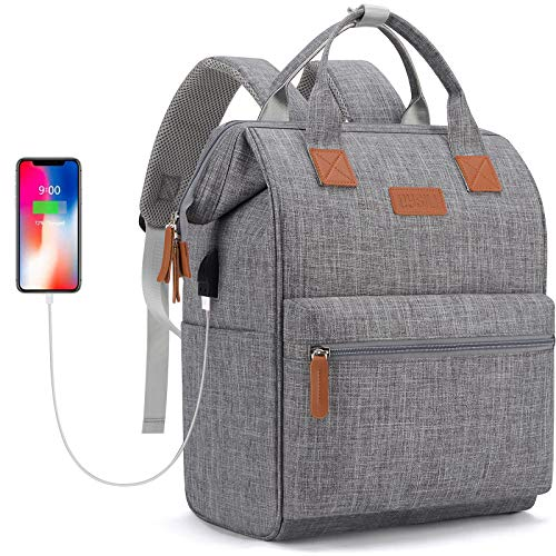 Travel Laptop Backpack, Wide Open Work Bag Lightweight Laptop Bag with USB Charging Port, Anti Theft Business Backpack, Water Resistant School Rucksack Gifts for Men Women (15.6'Light Grey)
