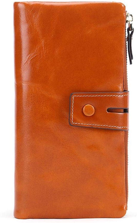 Girls Purse Women's Wallet Female Head Layer Oil Wax Leather Buckle Wallet