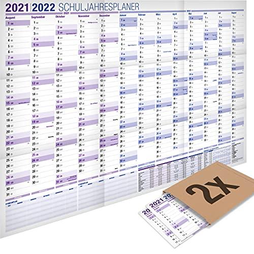 2er-Pack: Yohmoe® XXL Schuljahresplaner 2021/2022, Format 100x70 cm, gefalzt. Kalender fürs Schuljahr 21/22 Planer, Schuljahres Wandkalender 2021 2022, Schuljahreskalender, Groß