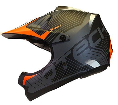 Qtech Kinder Motocross MX Helm MX BMX Quad ATV Motorradhelm Motorrad - Orange - S (53-54cm)