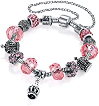 Jewels Galaxy Crystal Elements Delicate Floral Design Mesmerizing Platinum Plated Charm Bracelet For Women/Girls