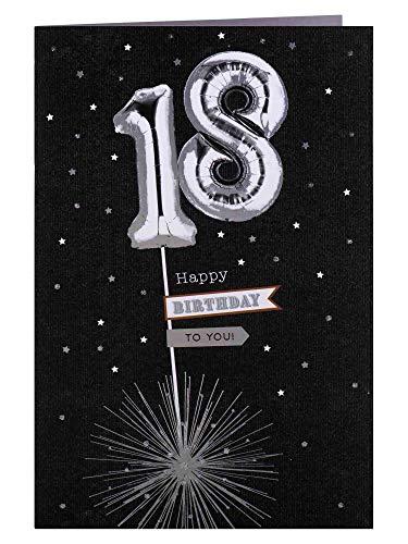 Clintons: Carte d'anniversaire 18 ans Ballons argentés 11 x 15 cm