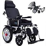 FZXL Silla de Ruedas eléctrica Inteligente Plegable, Ligera y Completamente automática para Personas discapacitadas,Negro