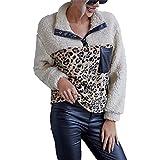 LYAZFC otoño e Invierno de Las Mujeres Multicolor de Felpa Estampado de Leopardo Bloqueador de Color suéter Casual Empalme Top