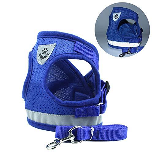 Conjunto de perro con cinturón de verano para mascotas ajustable reflectante chaleco para caminar a mano para perros pequeños cachorro arnés de red de poliéster
