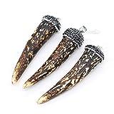 5pcs Natural Stone Pendants,Chili Shape Cow Bone Pendant Charms(38x55mm)Charms for DIY Jewelry Making Necklace Bracelet