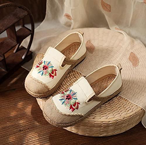 Zapatos bordados Hecho a mano mujer ropa de algodón bordado resbalón en mocasines con suelas tejidas de zapatillas de deporte de las zapatillas de deporte de las zapatillas de zapatos casuales GaYouny