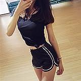 FENGLINZEKANG Frauen Casual Shorts mit elastischer Seide lose hoch taillierte einfarbige Shorts for Strand -