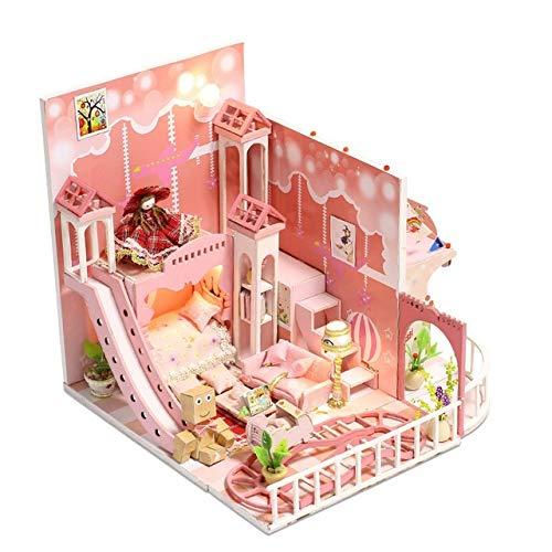 Chezhan -BAU Modellbau Bausätze Puppenstuben Spielzeug 10 Arten DIY Puppenhaus mit Möbeln Kinder Erwachsene Miniatur-Holzpuppenhaus Kreativität (Color : Blue)