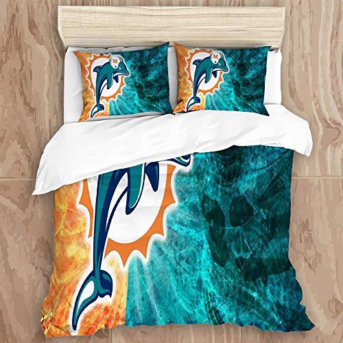 JINGGANGSHANPEACH Duvet Cover Set,Miami Do-lp-hi-ns (43) Decorative 3 Piece Bedding Set with 2 Pillow Shams, Queen Size
