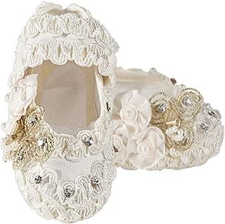 ivory silk christening shoes