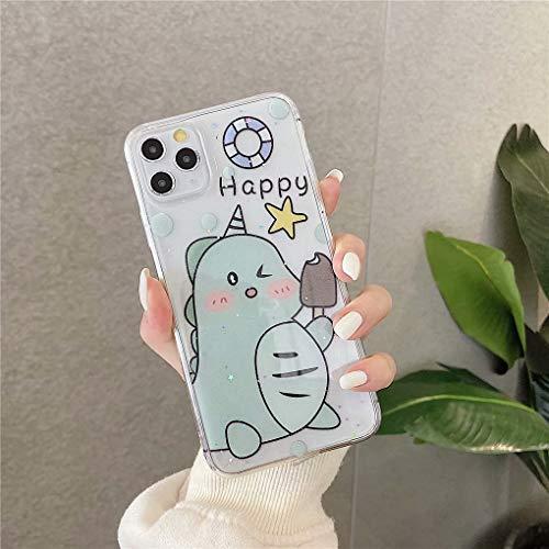 NiaCoCo Kompatibel mit iPhone 11 Hülle Grün Einhorn Muster Punktbohrer Ultra dünn Stoßfest Schutzhülle Kratzschutz Handyhülle + Senden Sie 1PCS Displayschutzfolie
