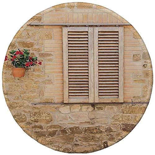 Antislip Rubber Ronde Muis Pad,Toscane, Rustieke Steen Huis en Raam Rolluiken Bloem Pot op Muur Italiaanse Land Home Thema, Beige