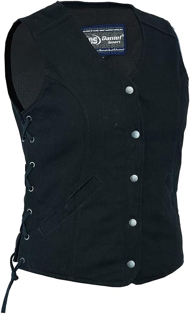 Daniel Smart Women's Denim Longer Body 3/4 Vest - Side Laces