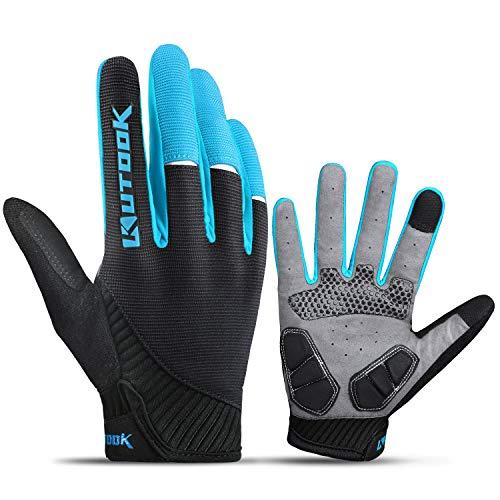 Kutook Guantes Ciclismo Gel Almohadilla de Completo Dedos para MTB Bicicleta de Carretera(Azul, Large)
