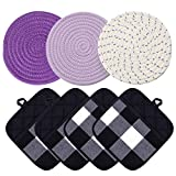 Hot Pads and Oven Mitts Sets Pot Holders for Kitchen Heat Resistant, 4 Pcs Buffalo Plaid Potholders Pockets Mitt,3 Pcs Round Cotton Thread Weave Purple Coasters Table Mats for Cooking Baking(Purple)