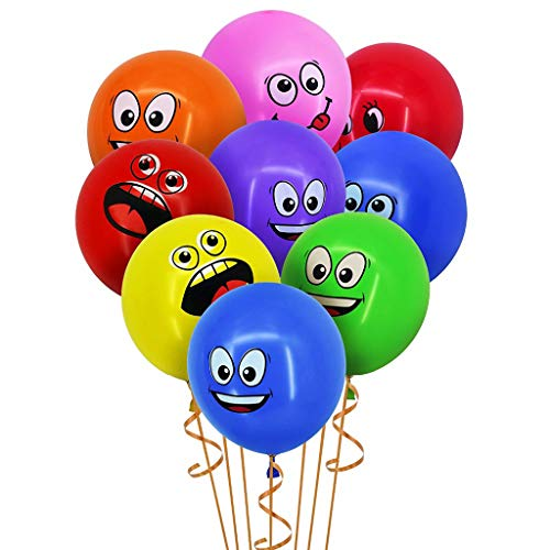 Amycute Emoji Party Luftballons, 50 Stück Emoji Latex-Luftballons Ballons Helium Gesichtsausdruck Balloons Emoticon Smiley Luft-Ballons für Geburtstag Party Dekoration.