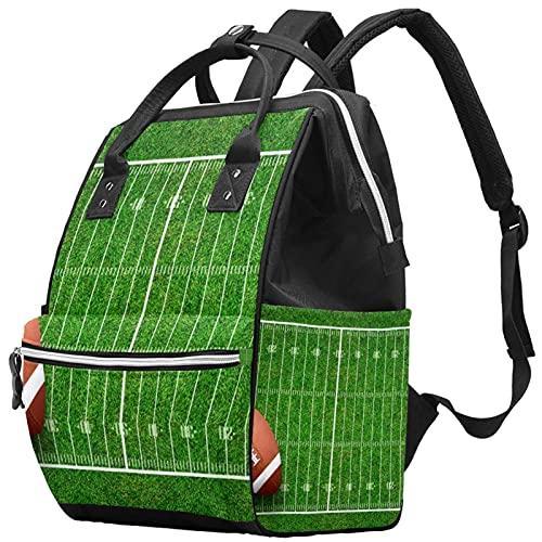WJJSXKA Mochilas Bolsa de pañales Laptop Notebook Mochila de viaje Senderismo Daypack para Mujeres Hombres - Fondo de patrón de campo de fútbol