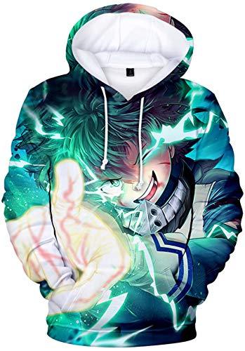 My Hero Academia Sudadera con Capucha Unisex Anime Bakugou Shouto 3D Vivid Manga Cosplay Algodón Deku Boku no Hero Academia Sudadera con Capucha para Mujers Hombres y Adolescentes