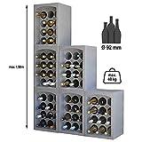 SoBazar - Lot de 4 Étagères à vins - 4 Casiers Range Porte Bouteilles empilables en polystyrène - 35 x 29,5 x 50 cm 48 Bouteilles