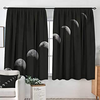 Moon Phases Thermal Insulating Blackout Curtain A Lunar Eclipse Changing Phase of The Moon Astronomy and Universe Theme Thermal Blackout Curtains 55