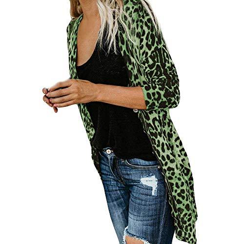 SHOBDW Mujeres de Manga Larga con Cuello en V Suelta Talla Grande Sexy Estampado de Leopardo Abrigo de Moda Blusa Camisetas sin Mangas Abrigos de Invierno Abrigos de Solapa(Verde,XXX-Large)