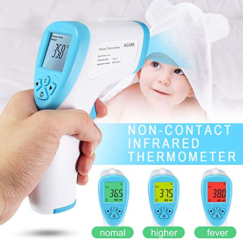 Fishoo Forehead Non Contact Infrared Thermometer LCD Digital Temperature Meter 32-43DegC
